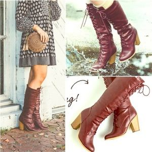 Burgundy Wine Red Lace-Up Block Heel Tall Boots